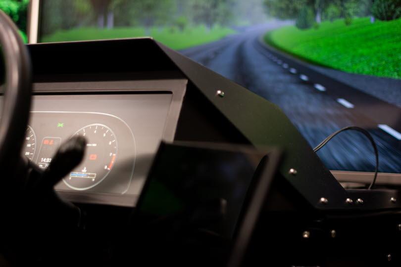 Körsimulator med en simulerad vägbana