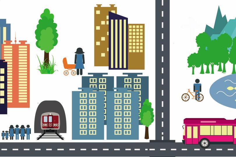 Illustrerad stad med buss, tåg, hus och människor.